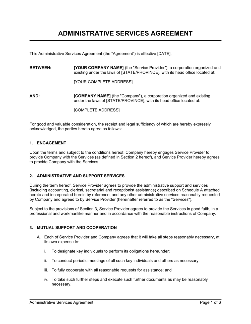 Business-in-a-Box's Administrative Services Agreement Template