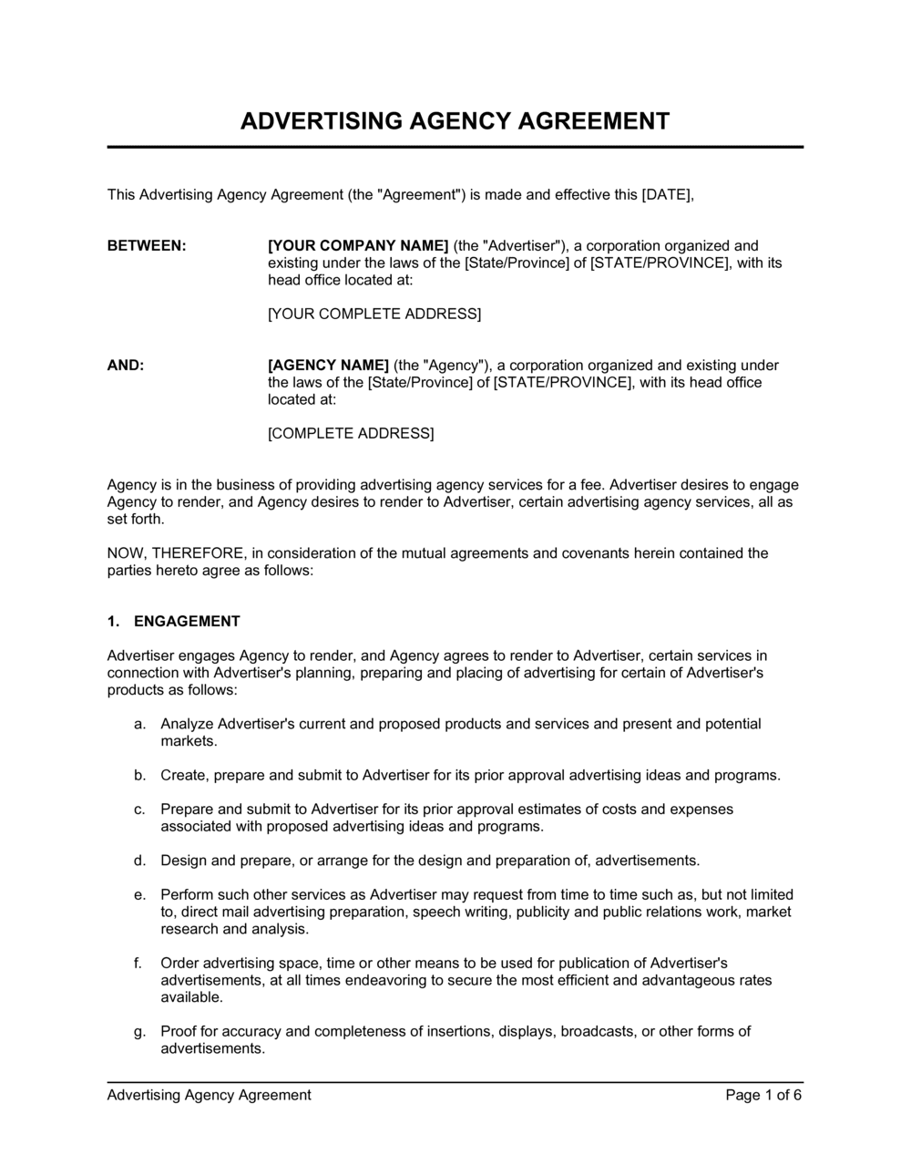 Business-in-a-Box's Advertising Agency Agreement Template