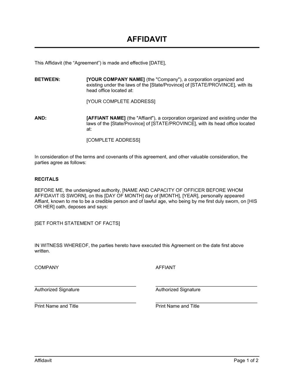 Business-in-a-Box's Affidavit Template