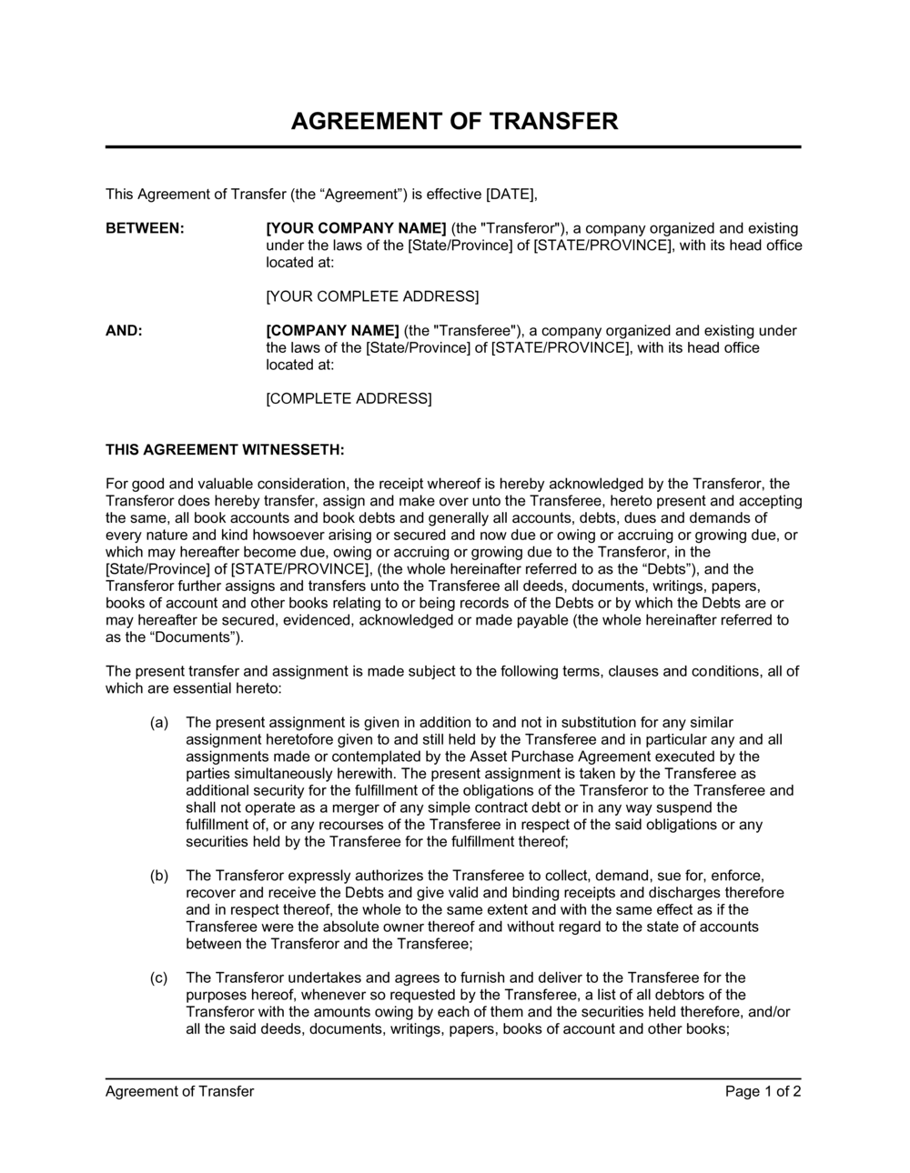 Business-in-a-Box's Agreement of Transfer Template