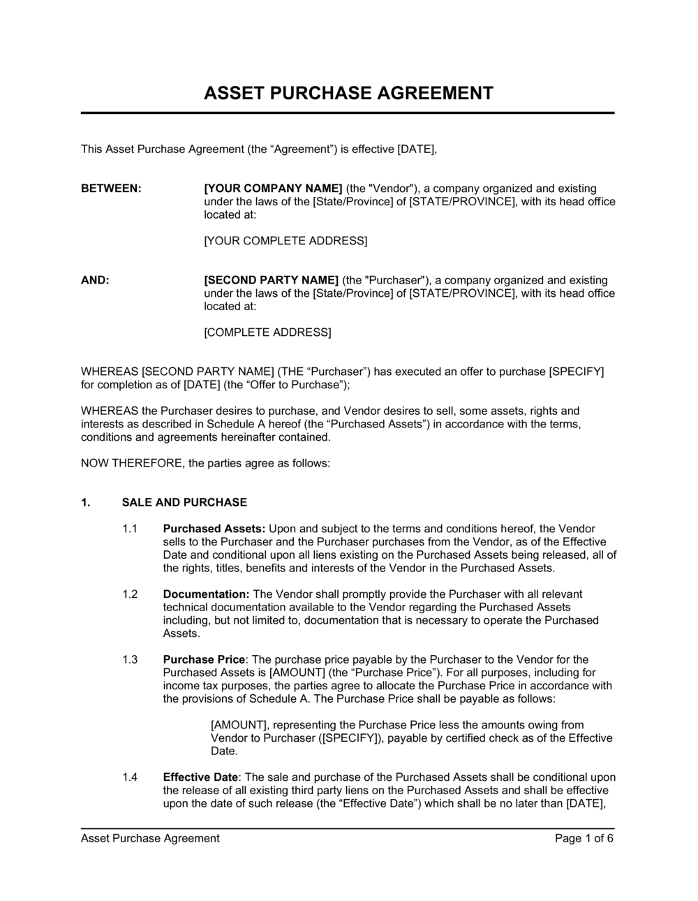 Business-in-a-Box's Asset Purchase Agreement Simple Template