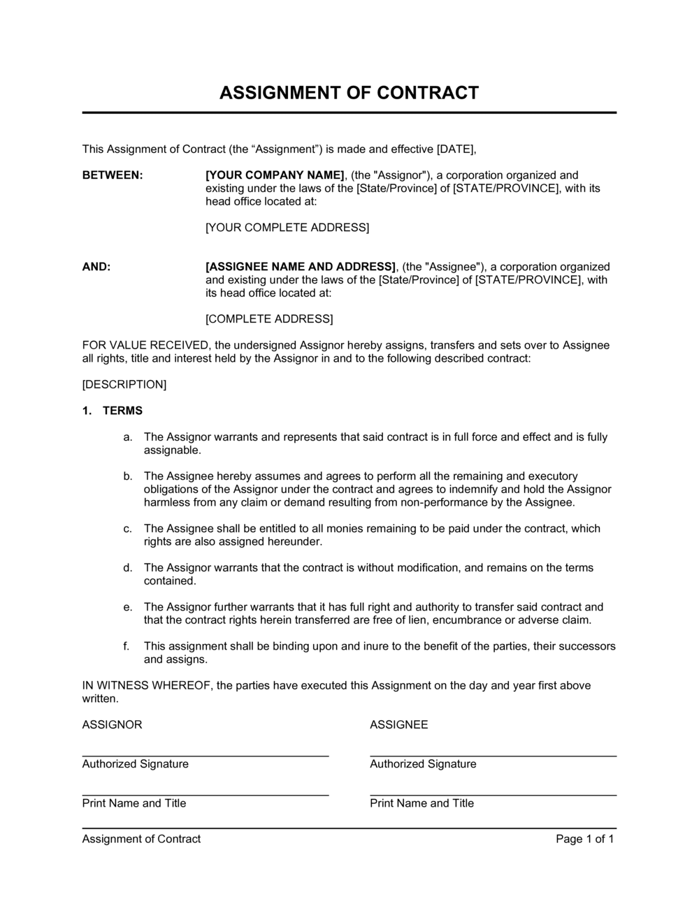 Business-in-a-Box's Assignment of Contract Template