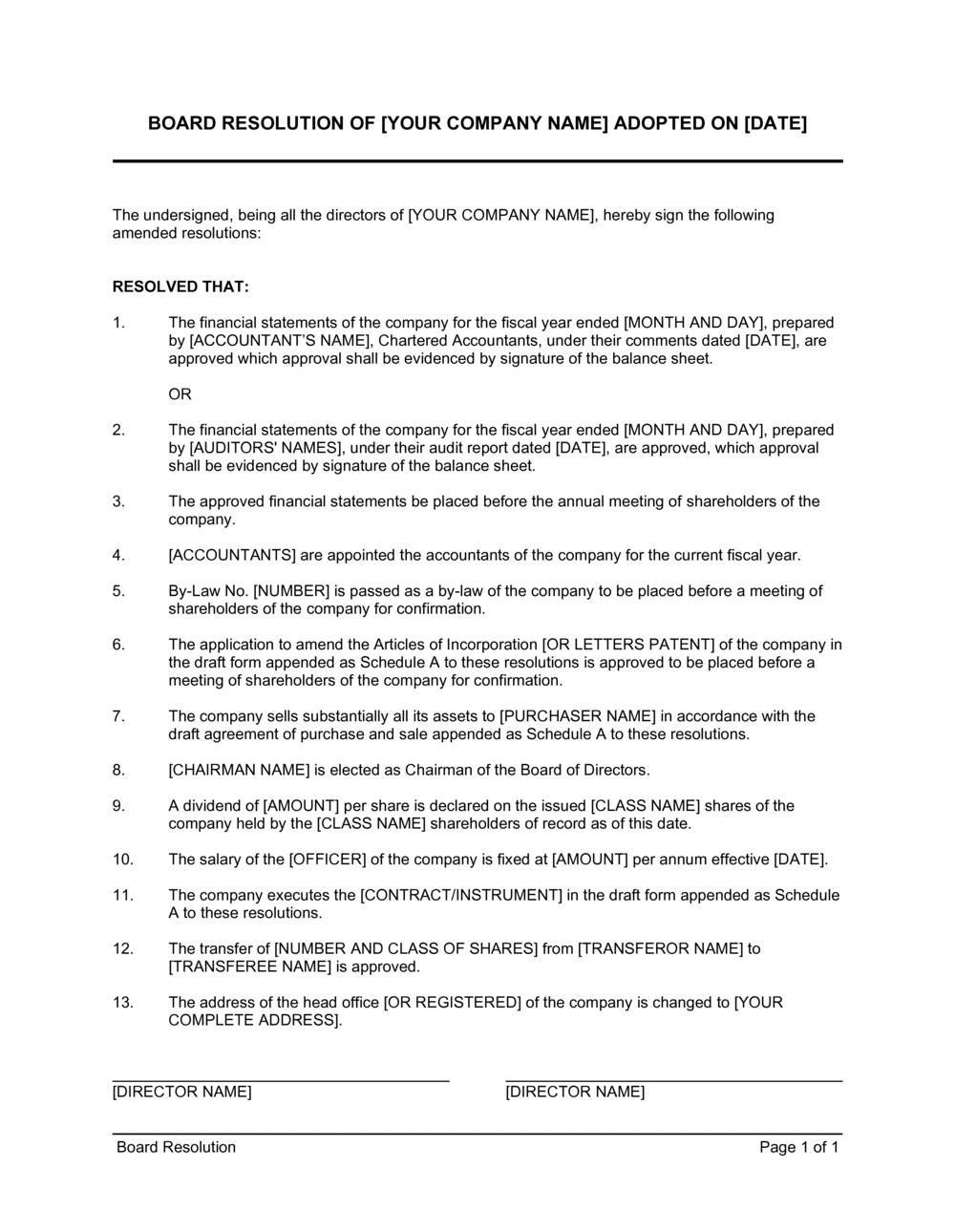 Business-in-a-Box's Board Resolution Template