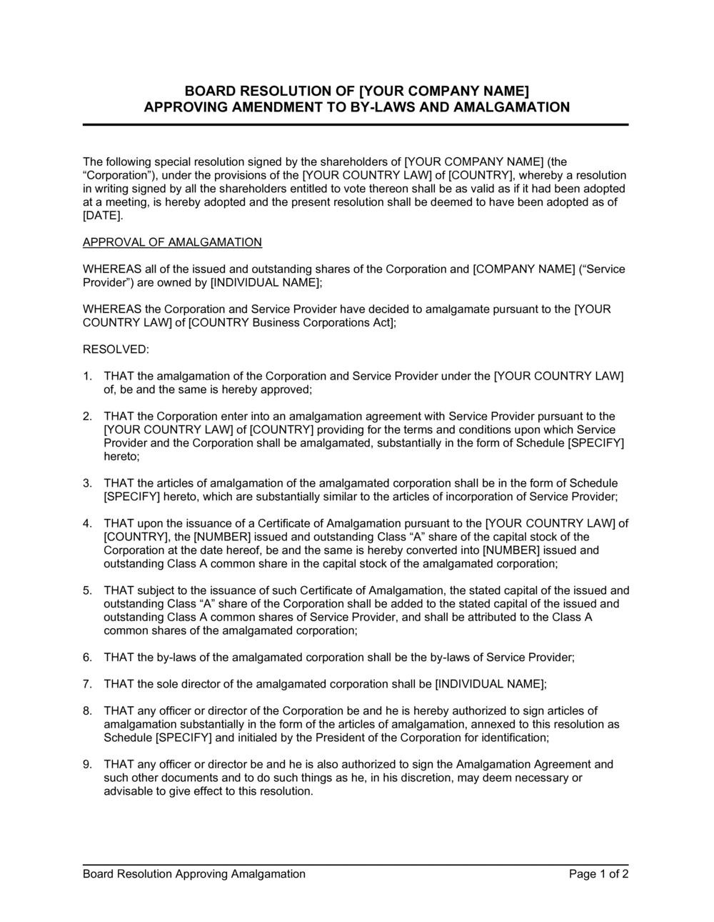 Business-in-a-Box's Board Resolution Approving Amalgamation Template