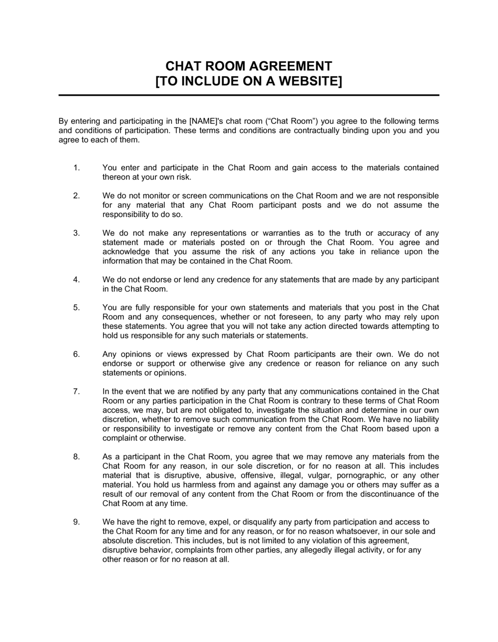 Business-in-a-Box's Chat Room Agreement Template