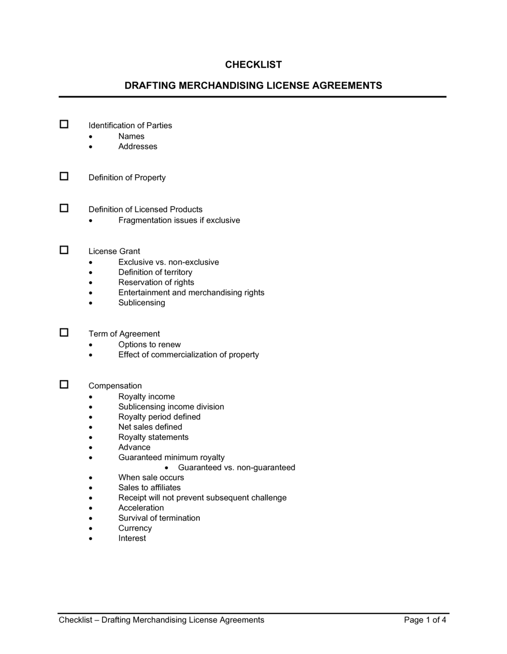 Business-in-a-Box's Checklist Drafting Merchandising License Agreements Template