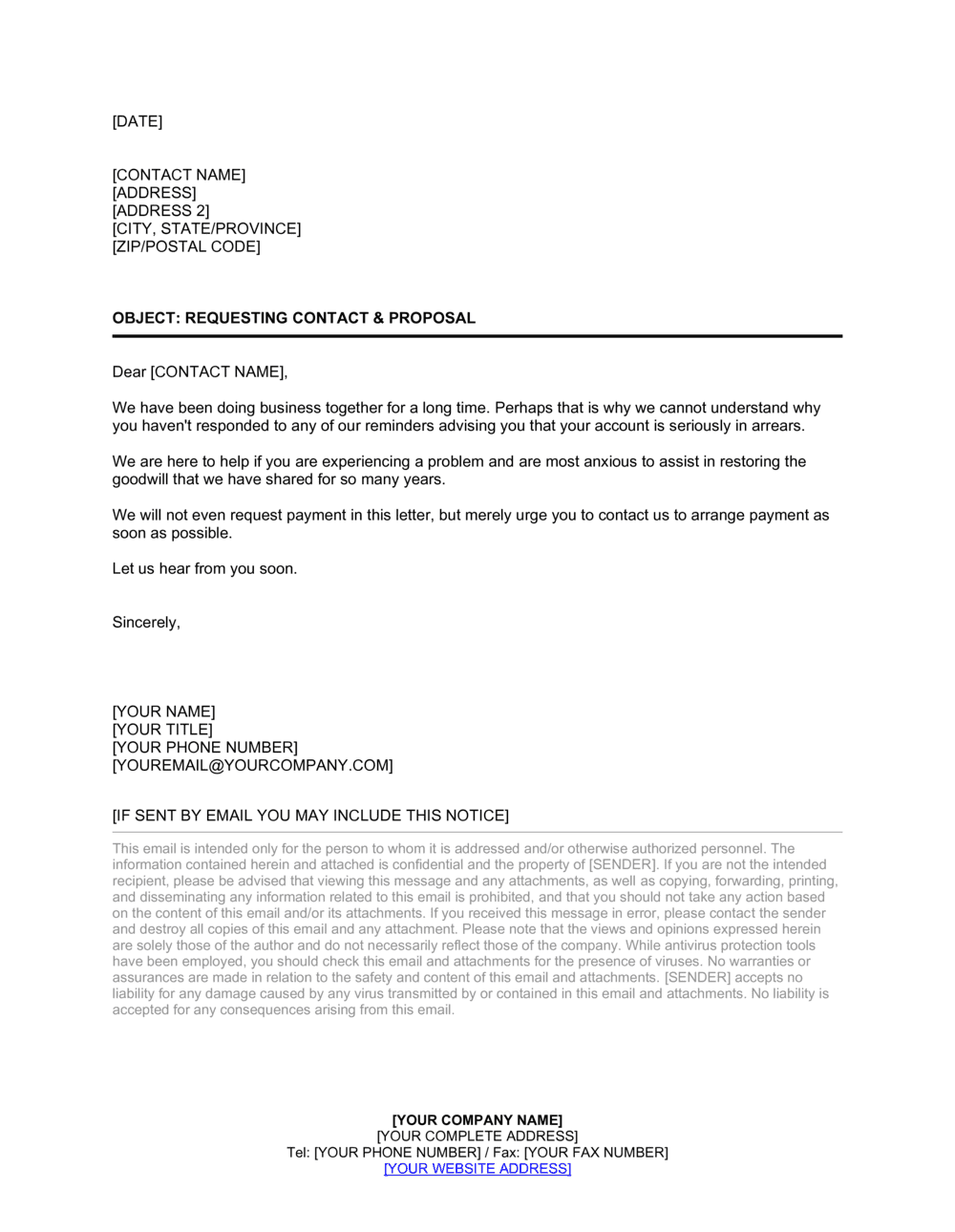Business-in-a-Box's Collection Letter Requesting Contact and Proposal Template