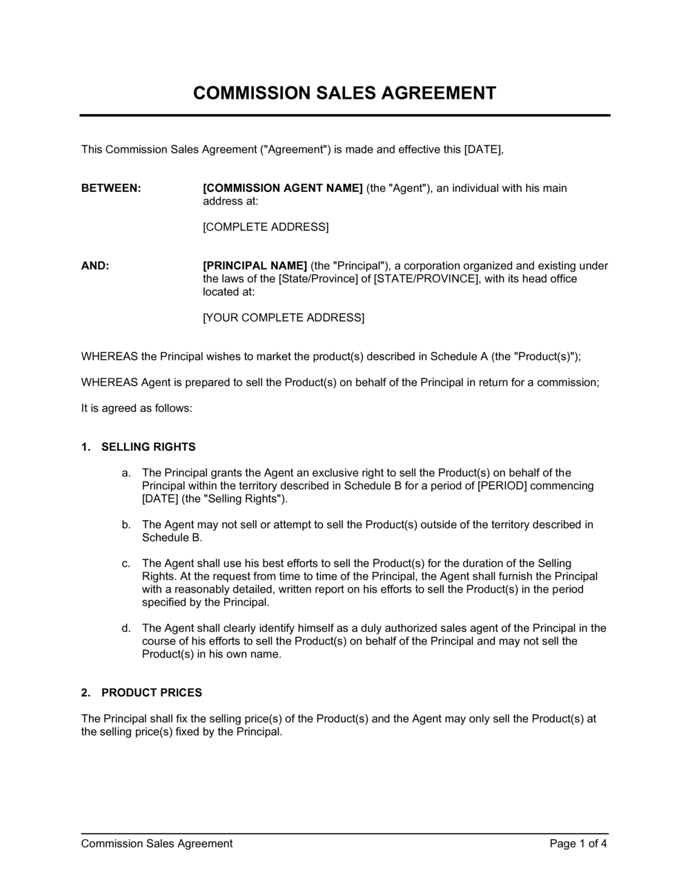 Business-in-a-Box's Commission Sales Agreement Template