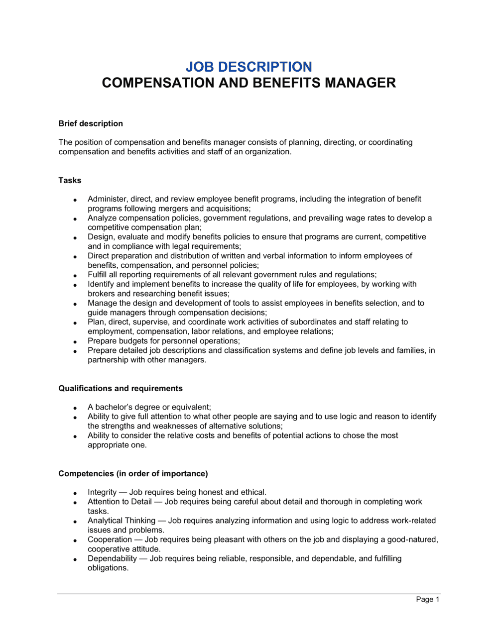 Business-in-a-Box's Compensation and Benefits Manager Job Description Template