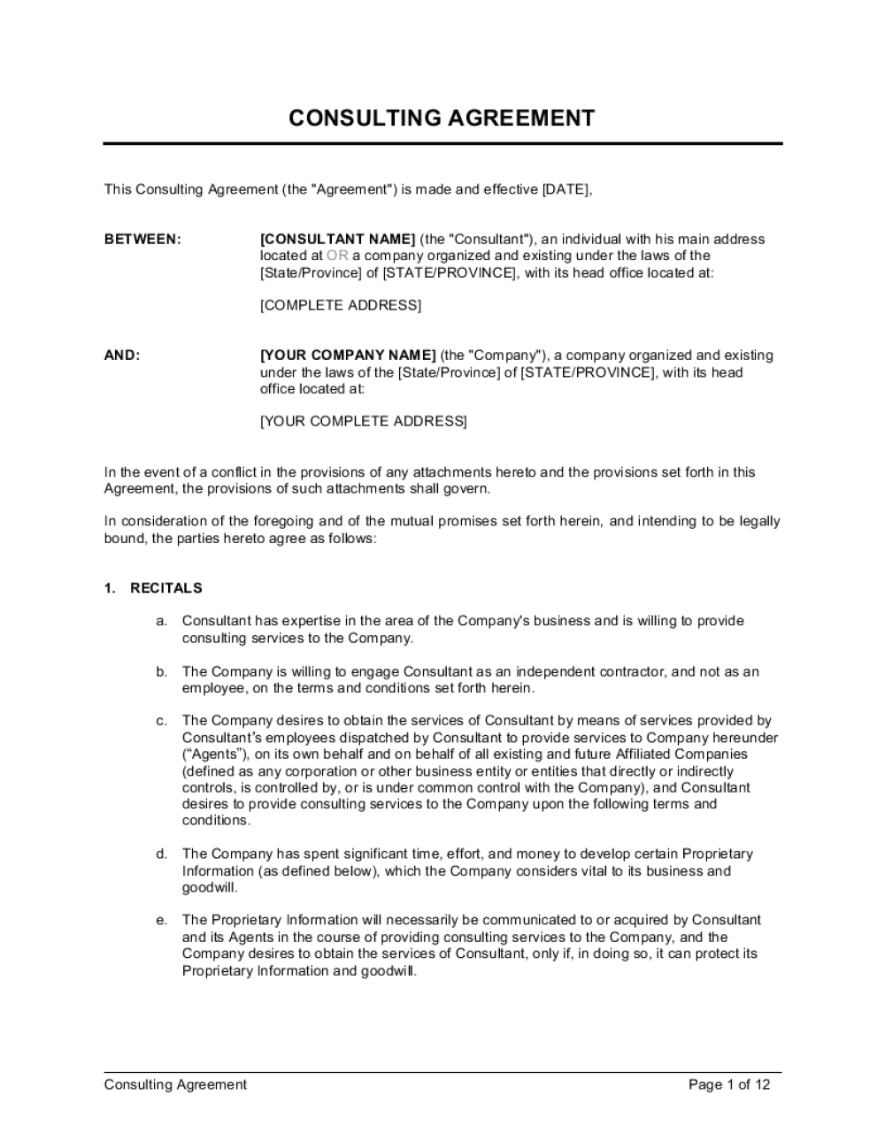 Business-in-a-Box's Consulting Agreement Long Template