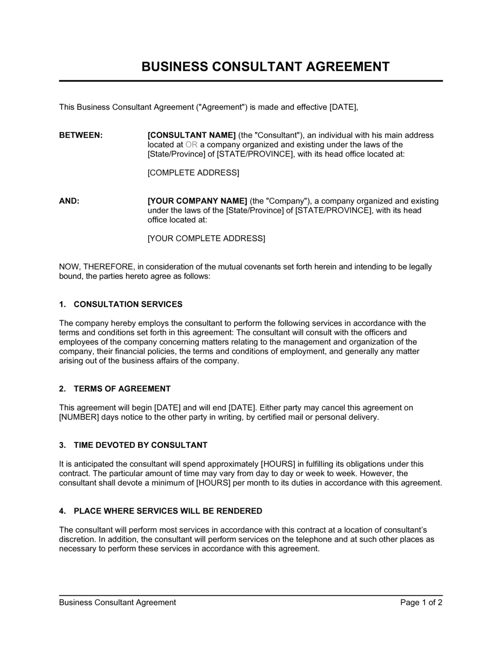 Business-in-a-Box's Consulting Agreement Short Template