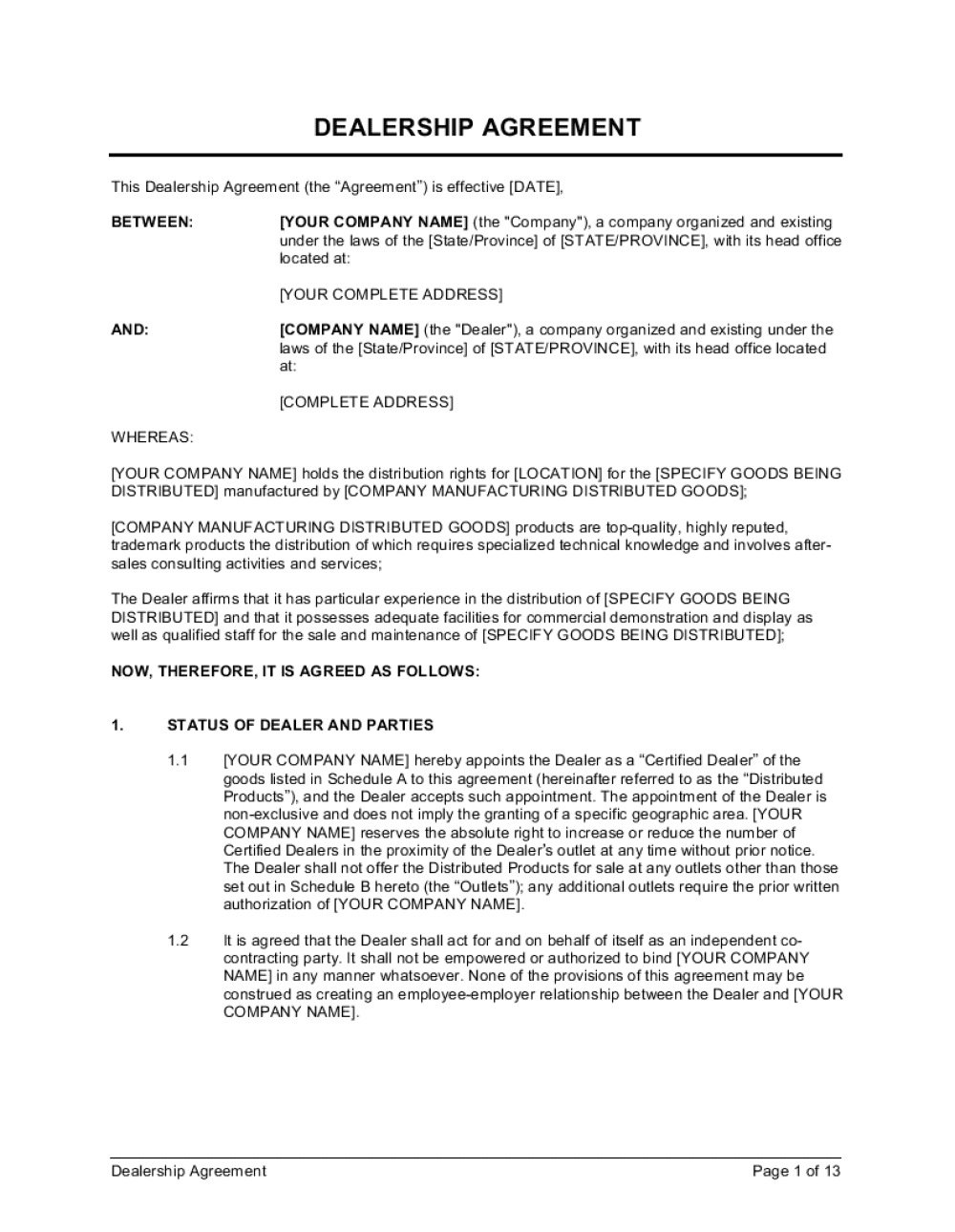 Business-in-a-Box's Dealership Agreement Template