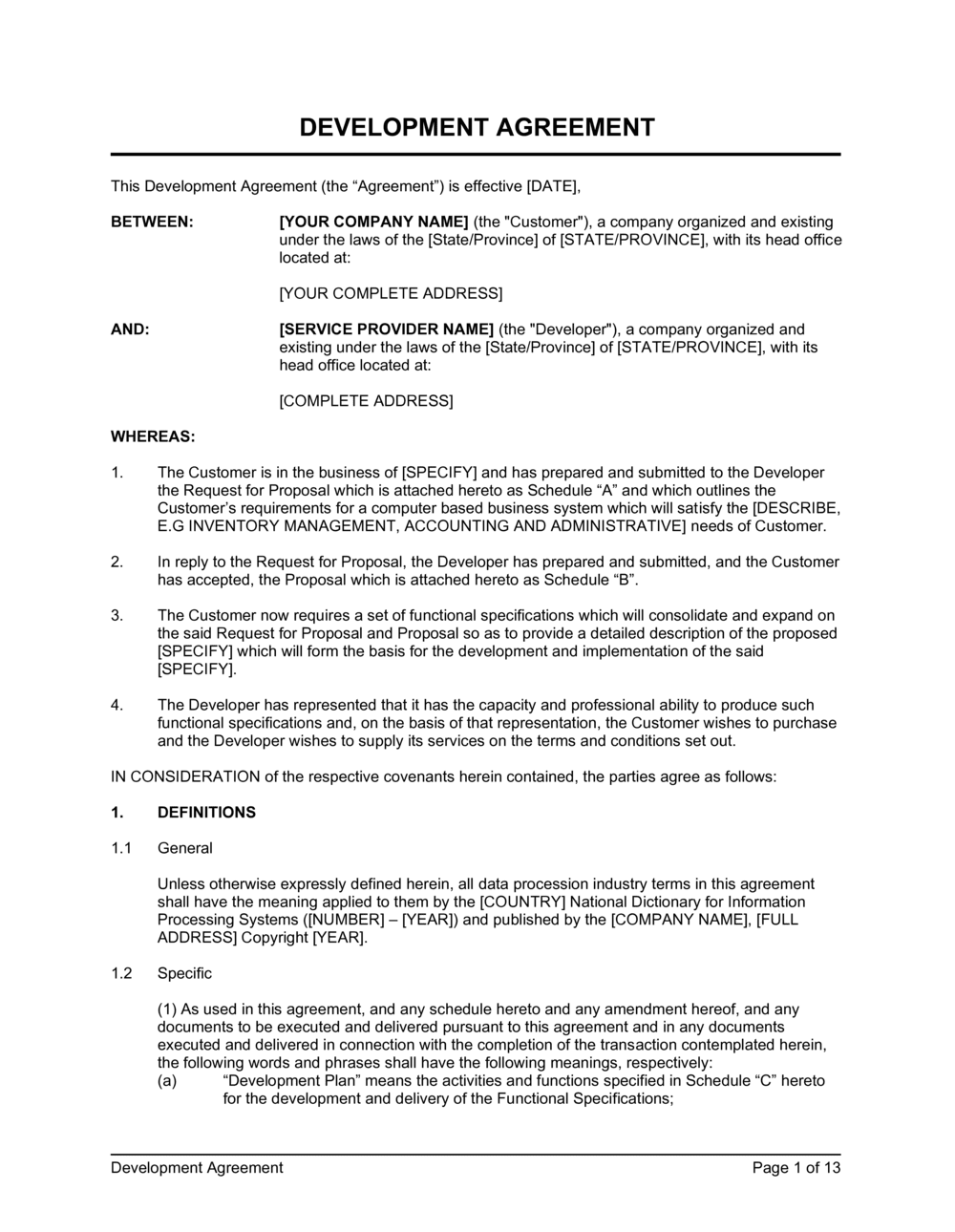 Business-in-a-Box's Development Agreement General Template