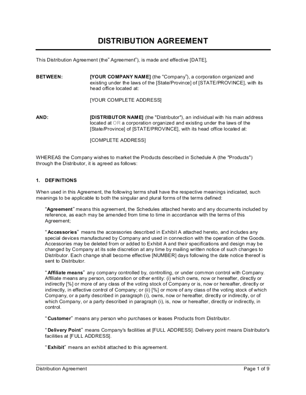Business-in-a-Box's Distribution Agreement Template