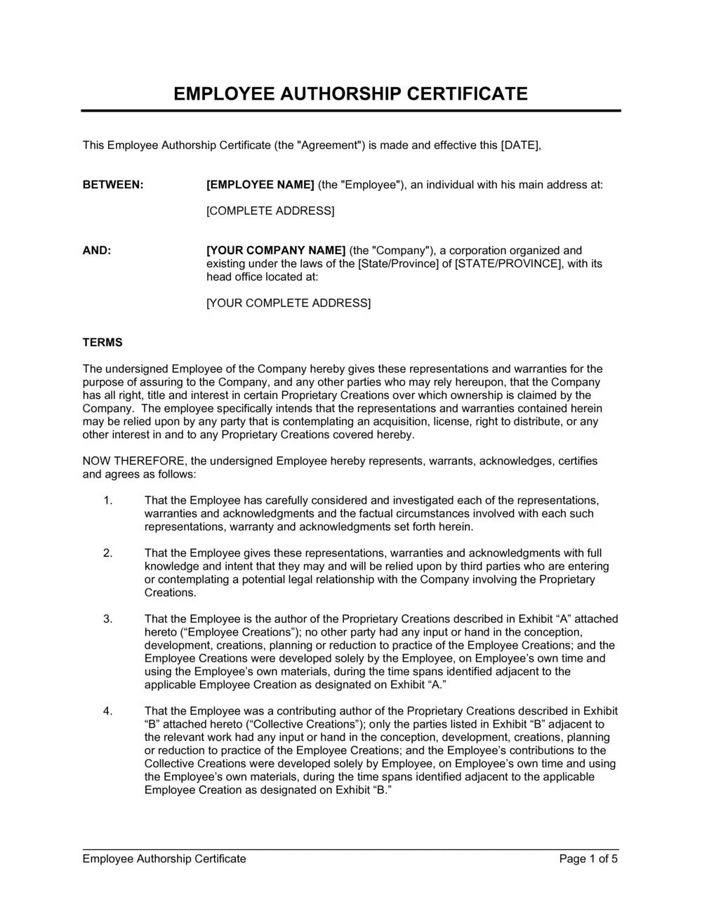 Business-in-a-Box's Employee Authorship Certificate Template