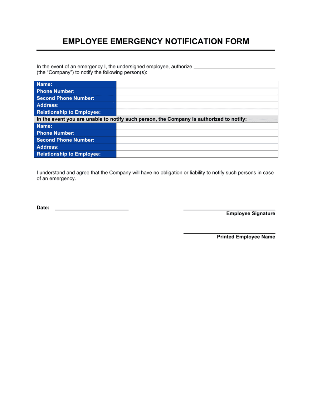 Business-in-a-Box's Employee Emergency Notification Form Template