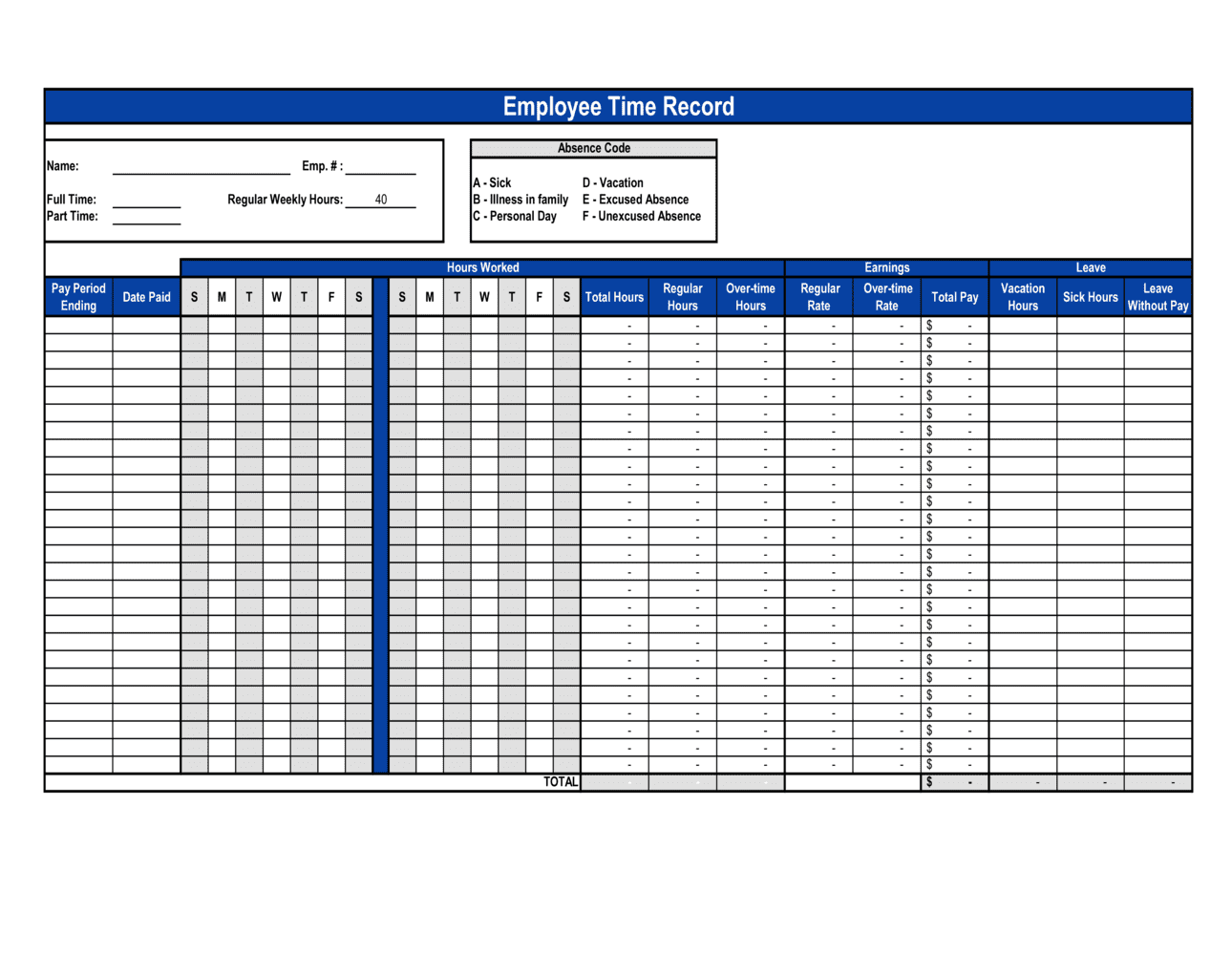 Business-in-a-Box's Employee Time Record Template