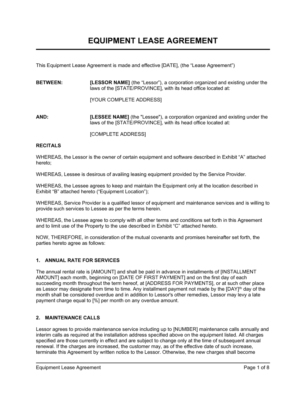 Business-in-a-Box's Equipment Lease Agreement Long Template