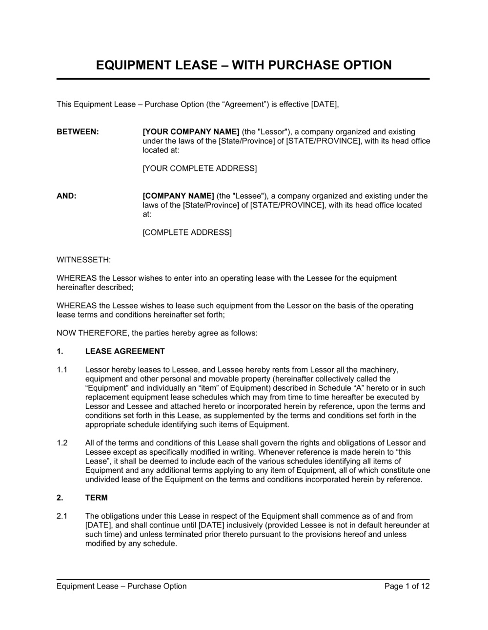Business-in-a-Box's Equipment Lease Agreement With Option to Purchase Template