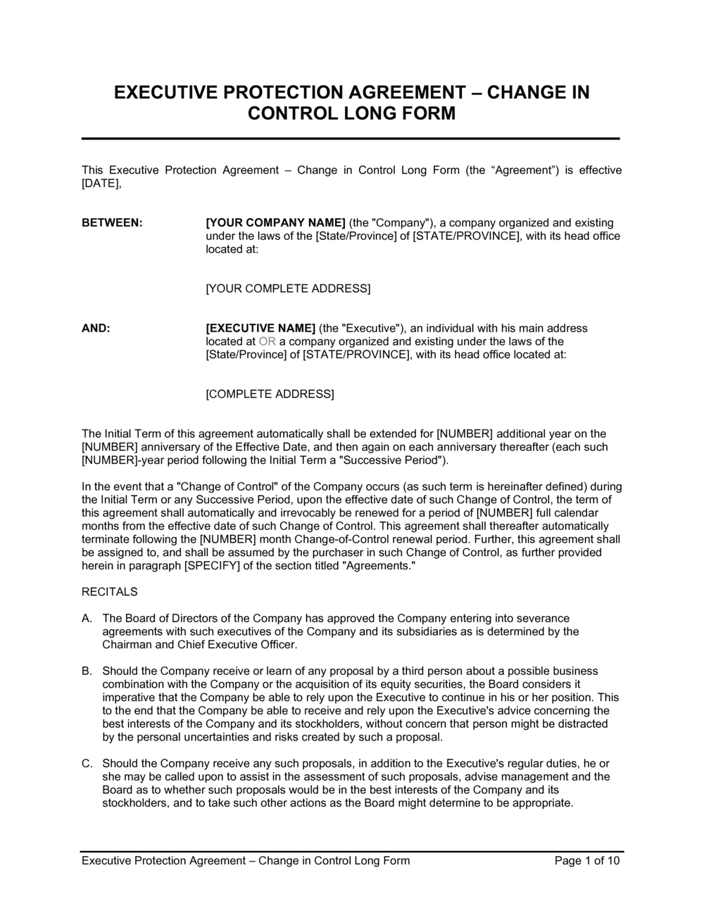 Business-in-a-Box's Executive Protection Agreement Change in Control_Long Form Template