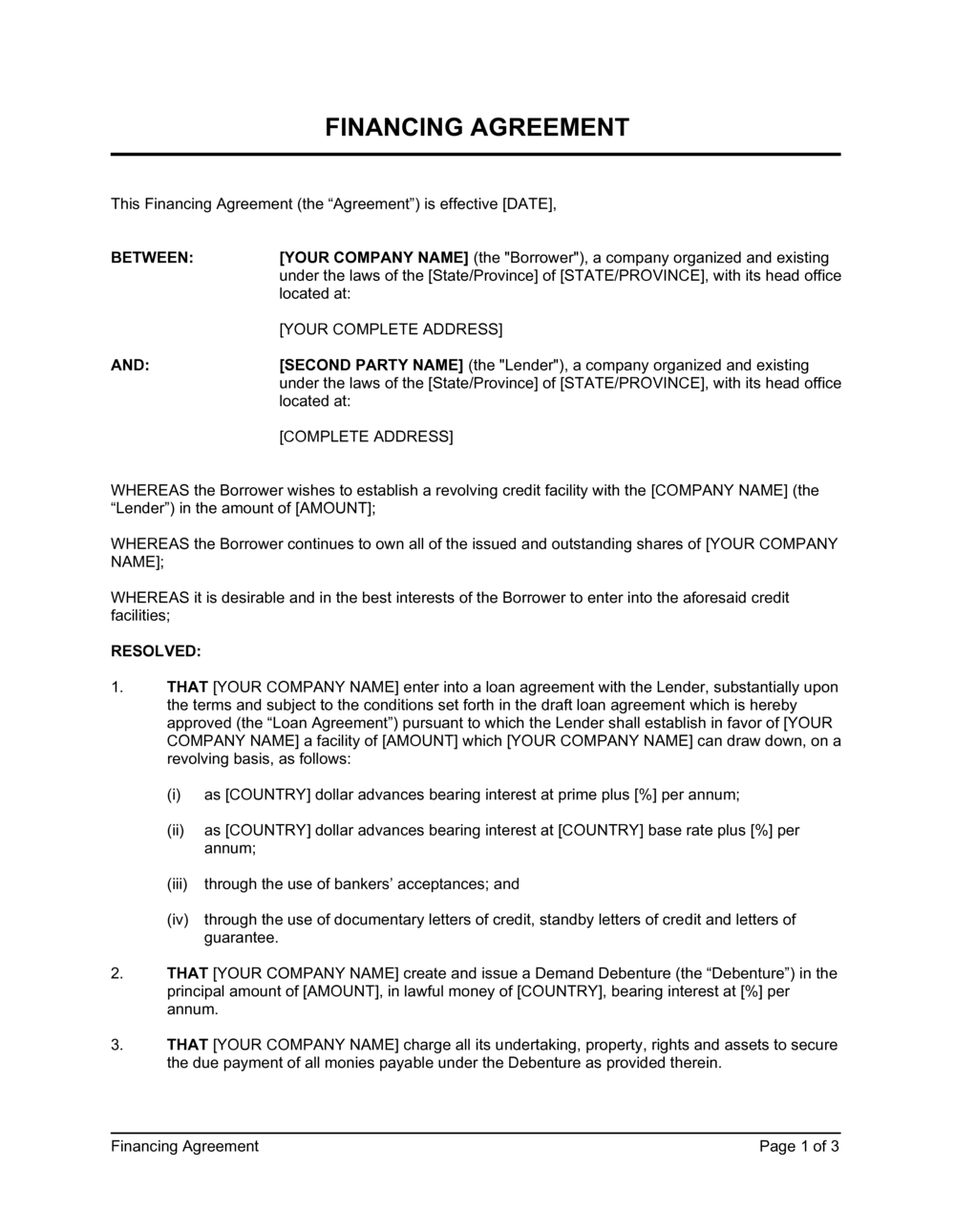Business-in-a-Box's Financing Agreement Short Template