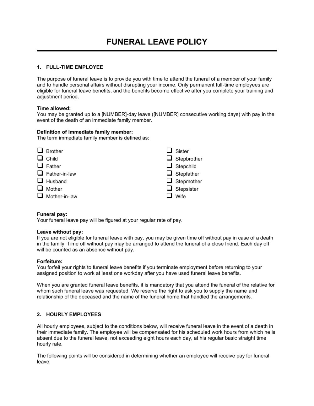 Business-in-a-Box's Funeral Leave Policy Template