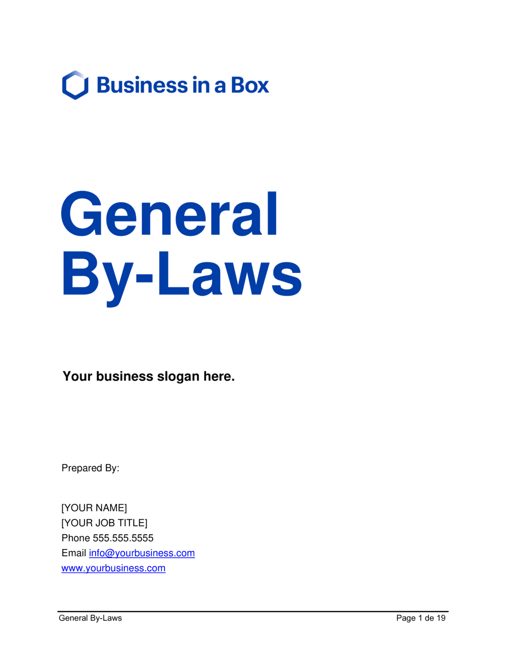 Business-in-a-Box's General By-Laws Template