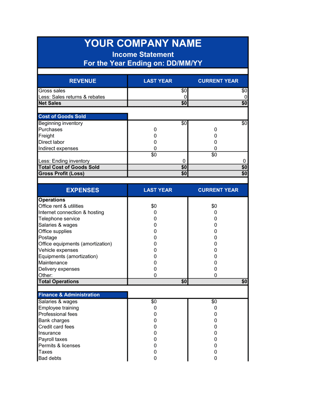Business-in-a-Box's Income Statement Template