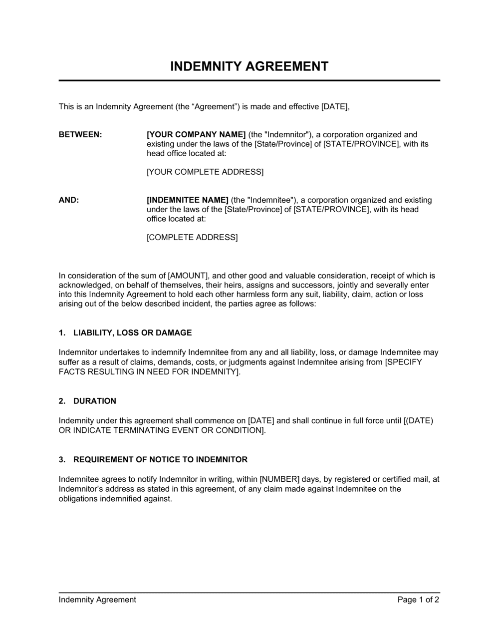 Business-in-a-Box's Indemnity Agreement Template