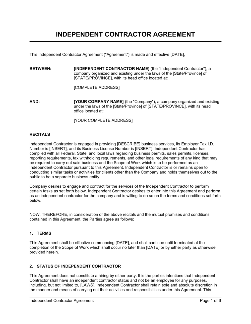 Business-in-a-Box's Independent Contractor Agreement Template