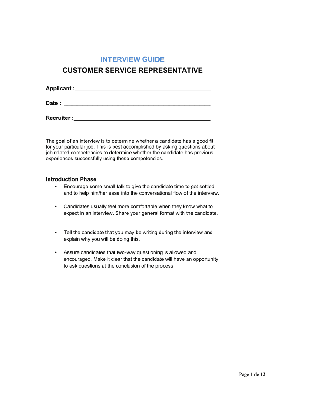 Business-in-a-Box's Interview Guide Customer Service Representative Template