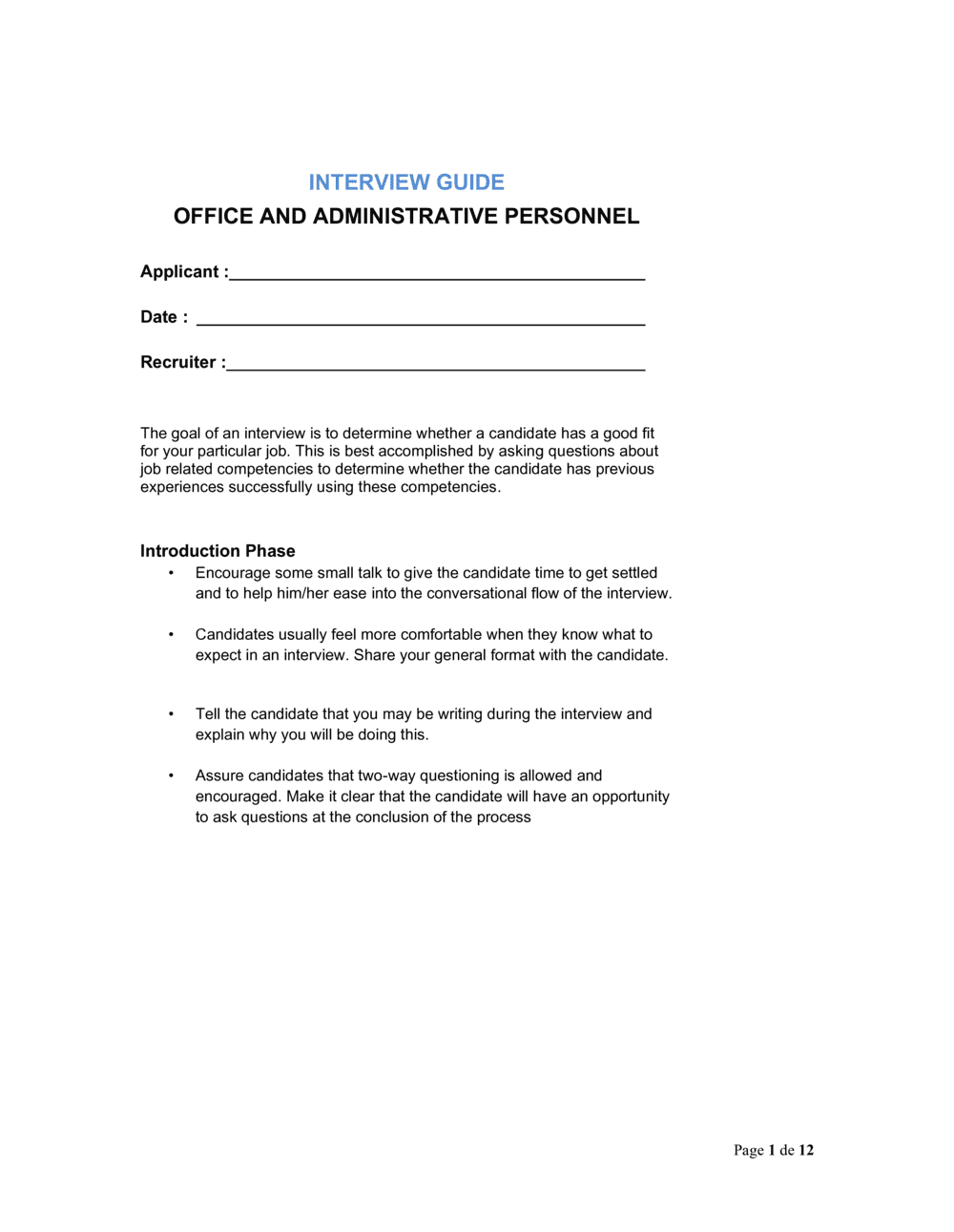 Business-in-a-Box's Interview Guide Office and Administrative Personnel Template