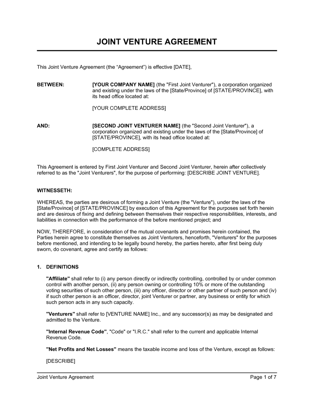Business-in-a-Box's Joint Venture Agreement Template