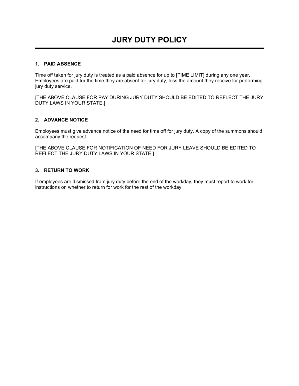 Business-in-a-Box's Jury Duty Policy Template
