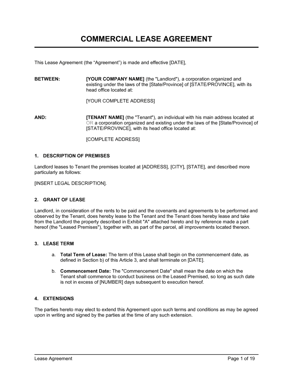 Business-in-a-Box's Commercial Lease Agreement Template