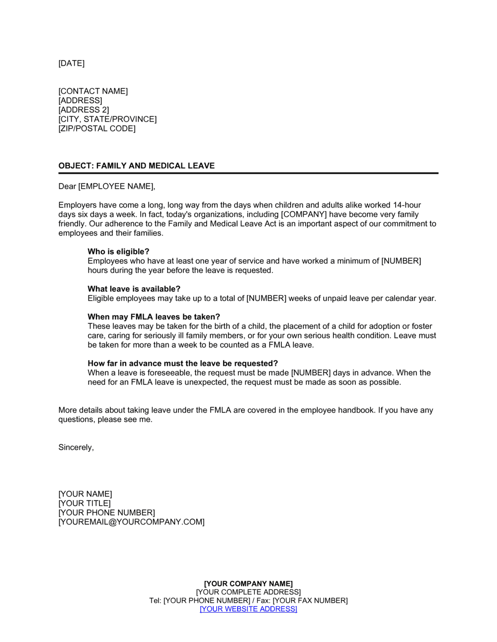 Business-in-a-Box's Letter Explaining Family and Medical Leave Template