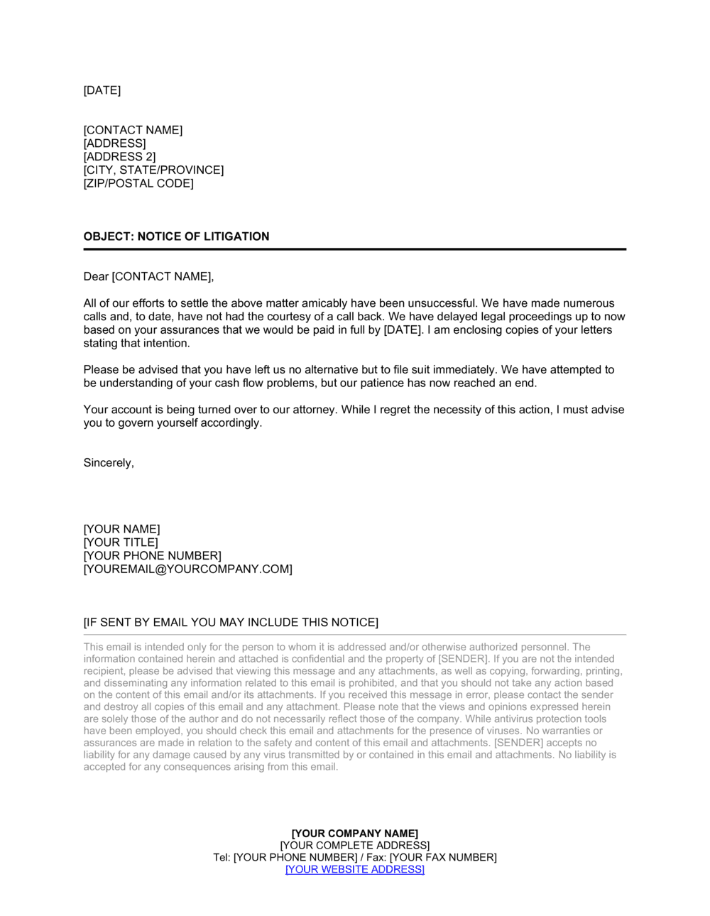 Business-in-a-Box's Letter Notice of Litigation Template