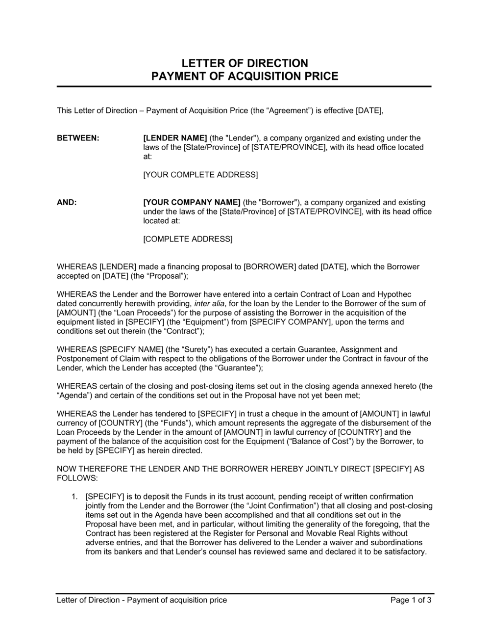 Business-in-a-Box's Letter of Direction Payment of Acquisition Price Template