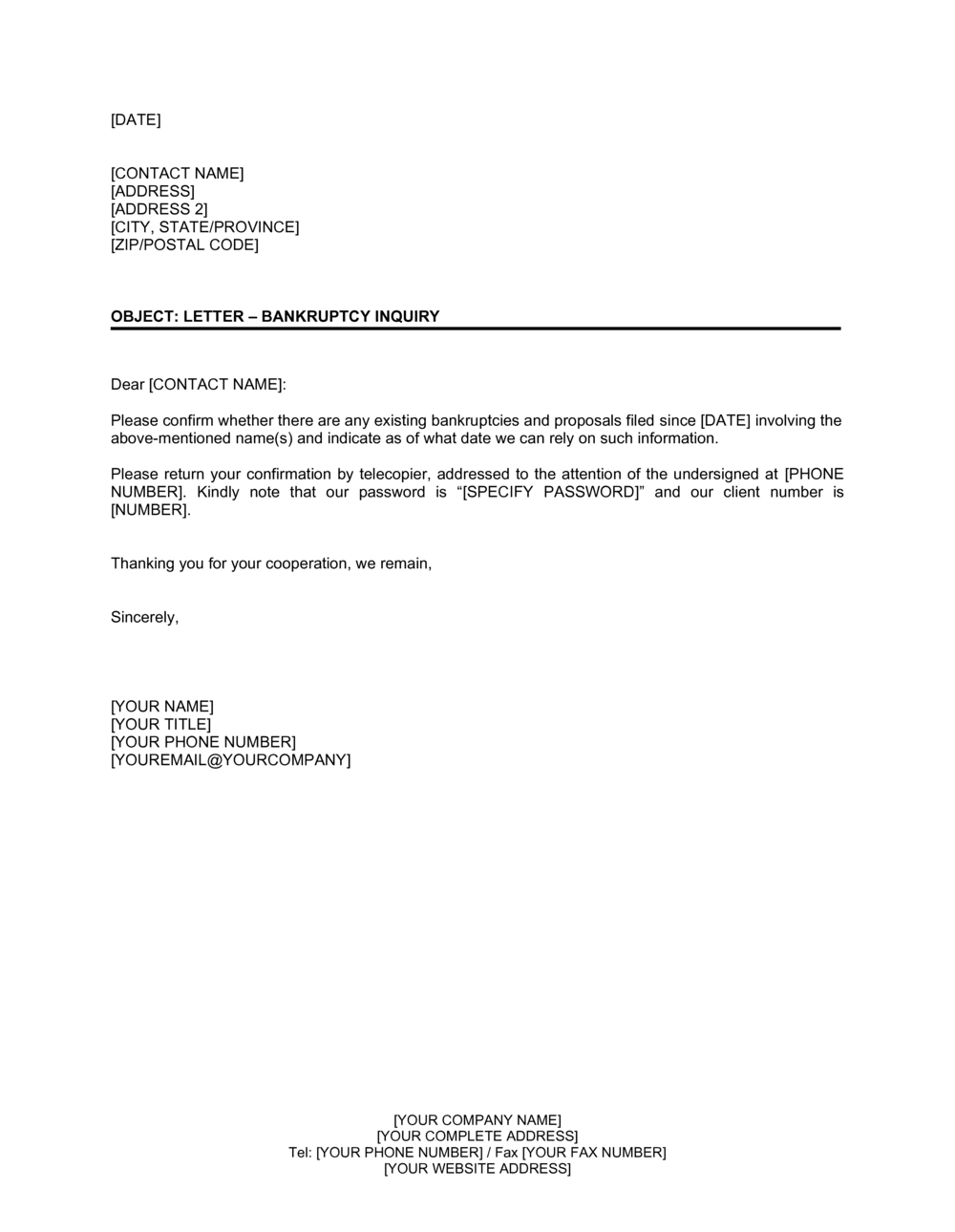Business-in-a-Box's Letter Bankruptcy Inquiry Template