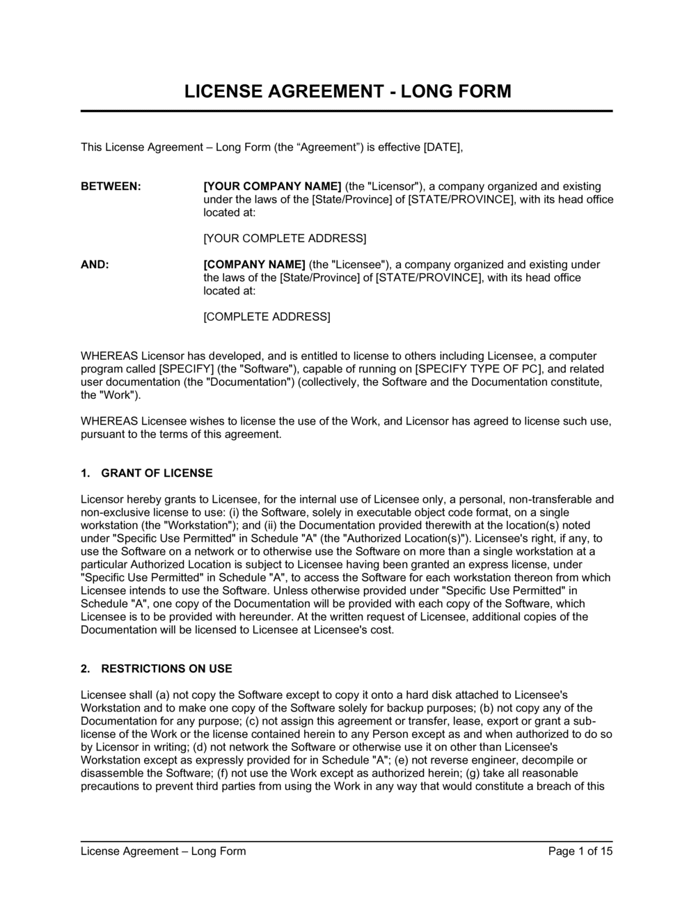 Business-in-a-Box's License Agreement Long Form Template