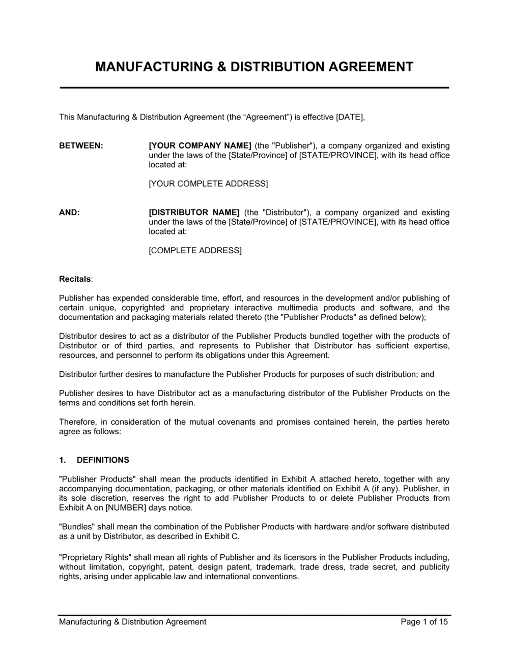 Business-in-a-Box's Manufacturing Distribution Agreement Template
