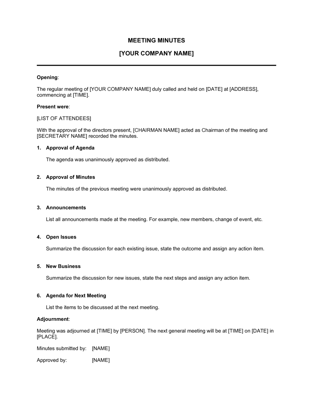 Business-in-a-Box's Minutes for a Formal Meeting Template