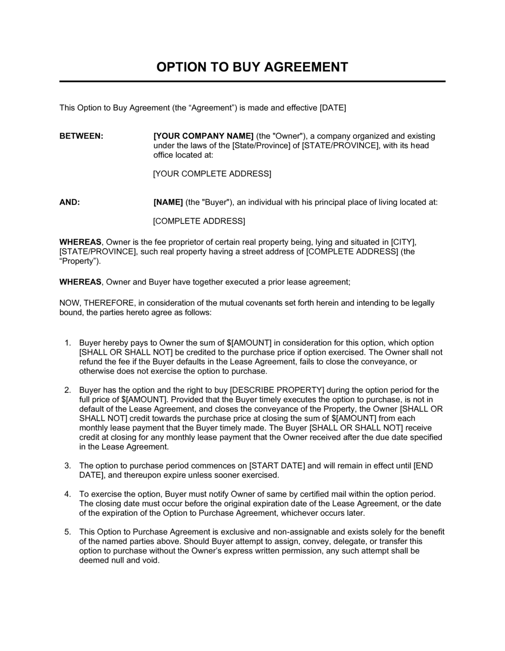 Business-in-a-Box's Option to Buy Agreement Long Template