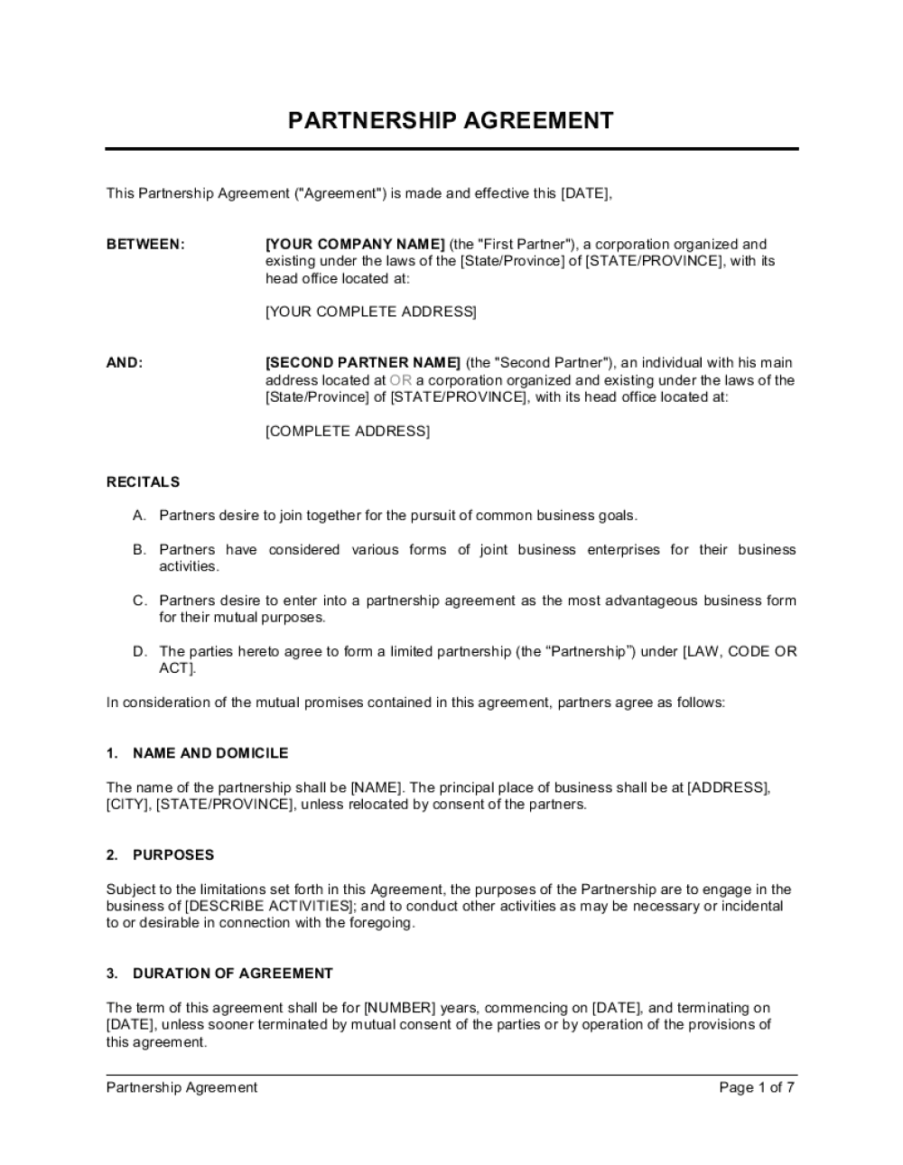 Business-in-a-Box's Partnership Agreement Template