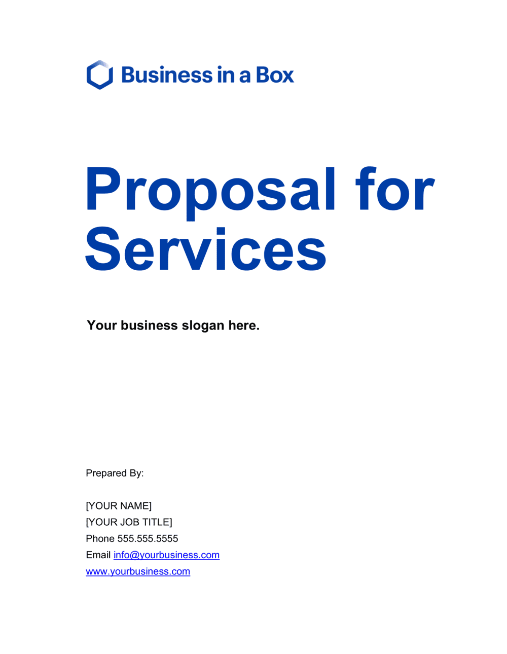 Business-in-a-Box's Proposal for Services Template