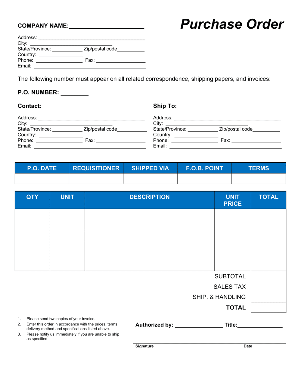 Business-in-a-Box's Purchase Order Template