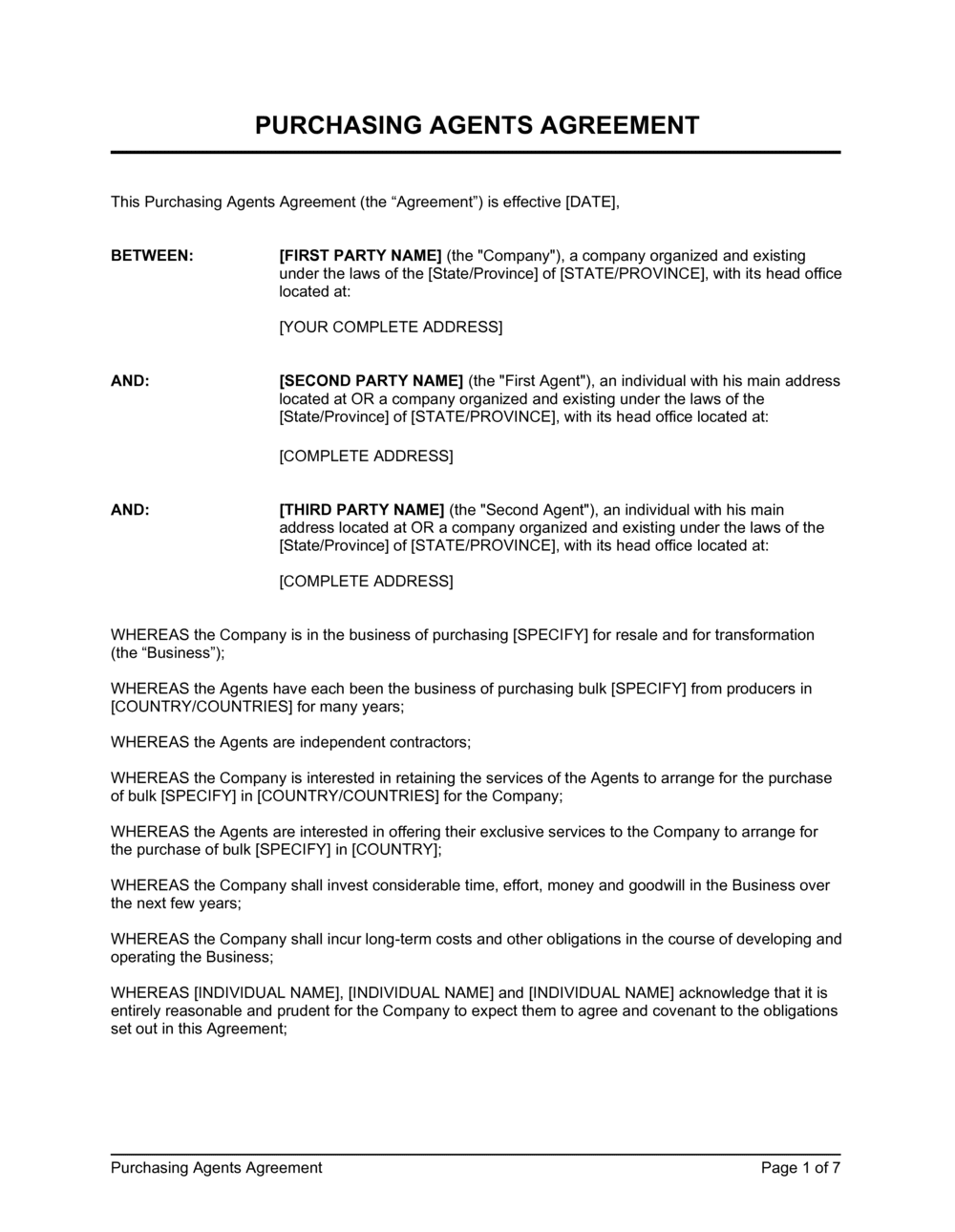 Business-in-a-Box's Purchasing Agents Agreement Template