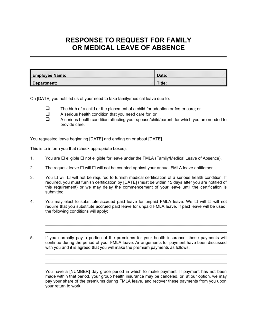Business-in-a-Box's Response to Employee Request for Family or Medical Leave Template