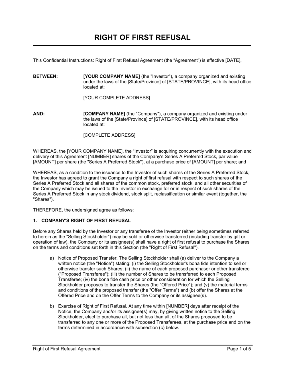 Business-in-a-Box's Right of First Refusal Agreement Template