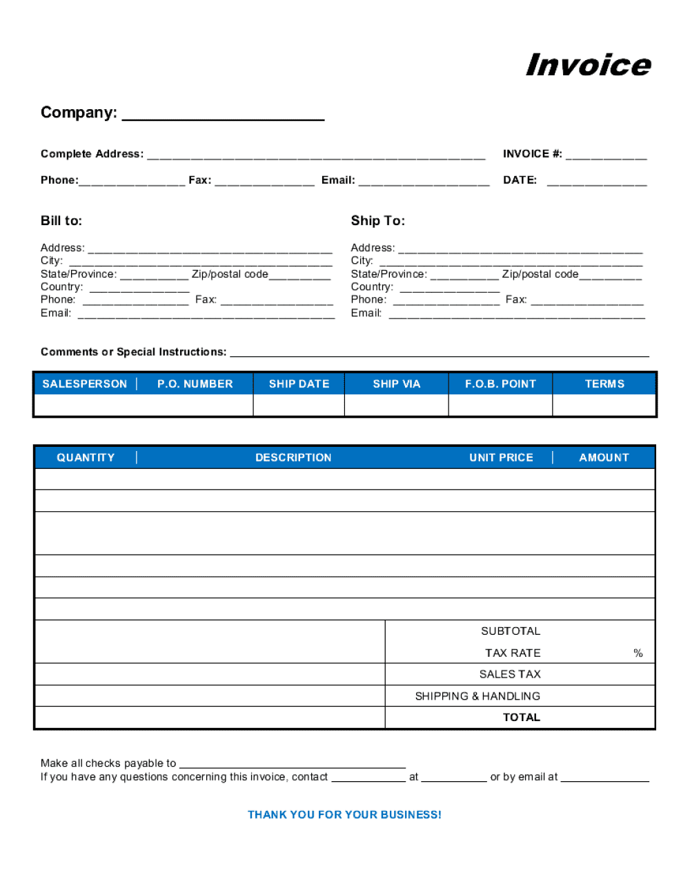 Business-in-a-Box's Commercial Sales Invoice Template